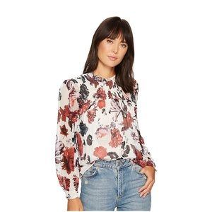 New lucky brand smocked floral top